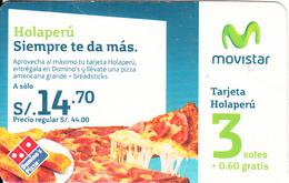 """PERU - Domino""""s Pizza, Telefonica Prepaid Card S/.3, Used - Peru"""