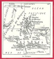 Carte Des îles Moluques, Larousse 1908 - Old Paper