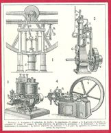 Moteurs, à Vapeur, à Pétrole, électrique , à Gaz, Larousse 1908 - Old Paper