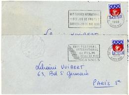 06 CANNES ENTREPOT : 2 Flammes Rares De Mai 1968 : FESTIVAL Et CONGRES DES JUS DE FRUITS... - Marcophilie (Lettres)