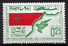 MAROC     -    1966 .  Y&T N° 498 *.   Indépendance  /  Drapeau  /  Colombe. - Marruecos (1956-...)