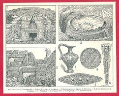 Art Mycénien, Mycènes, Art Grec,illustration Maurice Leblond, Larousse 1908 - Old Paper