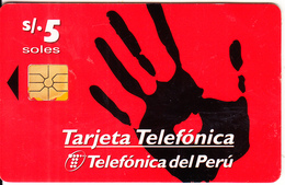 PERU - Black Hand, Telefonica Telecard, Chip GEM1.1, 11/97, Used - Peru