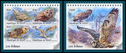 NIGER 2018 MNH** Owls Eulen Hiboux M/S+S/S - OFFICIAL ISSUE - DH1833 - Owls