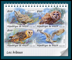 NIGER 2018 MNH** Owls Eulen Hiboux M/S - IMPERFORATED - DH1833 - Owls