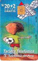 PERU - Painting/Boy With Kite, Telefonica Telecard, Chip GEM1.1, 02/98, Used - Peru