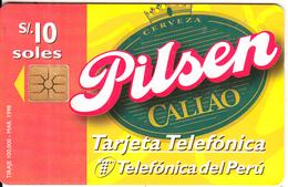 PERU - Pilsen Beer, Telefonica Telecard, Chip GEM1.3, 10/98, Used - Peru