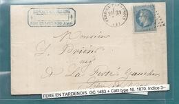 Aisne - Fere En Tardenois Pour La Ferté Gaucher . GC + CàD Type 16 - Postmark Collection (Covers)