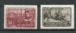 RUSSIA Soviet Union 1942/43 Michel 839 & 841 MNH - Ongebruikt