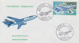 Enveloppe  FDC  1er Jour  POLYNESIE  1973   Mise  En  Service  Du  DC 10 - FDC