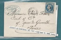 Aisne - Coucy Le Chateau. Fabrique De Sucre à La Feuillée. 1868 - Marcophilie (Lettres)