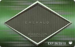 Harrington Raceway - Harrington, DE - BLANK Metallic Emerald Slot Card - Casino Cards