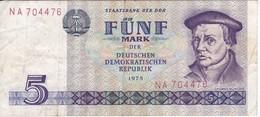 BILLETE DE ALEMANIA  DDR DE 5 MARKS  DEL AÑO 1975  (BANK NOTE) - [ 6] 1949-1990 : RDA - Rép. Dém. Allemande