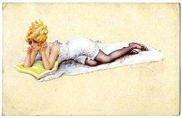 MILLIERE M  FEMME COUCHEE LISANT -  TRES BELLE ILLUSTRATION - Milliere