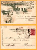 LITHO - Ristorante Garibaldi - Femme En Terrasse - Claudina Proprietaria Mortola - Animée - 1901 - Imperia