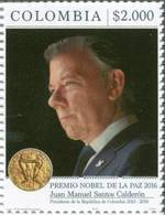 Lote 2018-12, Colombia, 2018, Sello, Stamp, Nobel Peace Prize, Nobel Peace Prize, Personality, President Of Colombia - Colombie