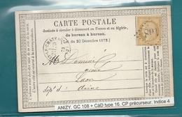 Aisne - Anizy Le Chateau. GC 108 + CàD Type 16 - Postmark Collection (Covers)
