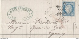 60C Convoyeur Station Corbie Vers Lyon 30 Octobre 1875 Voir Description - Marcophilie (Lettres)