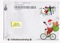 BRD - Privatpost - Umschlag - PIN - Marke / Abbildung: Weihnachtsmann Auf Fahrrad, Bicycle, Vélo, Bicicleta - Radsport