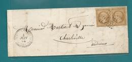 Aisne - Origny En Thierache Pour Charleville. GC 2738 + CàD Perlé Type 22. 1864 - 1849-1876: Période Classique