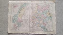 CARTE PHYSIQUE ET POLITIQUE DE RUSSIE  ET DES ETATS SCANDINAVES  LIBRAIRIE BELIN GRAVEE JENOTTE  47 X 33 CM - Cartes Géographiques