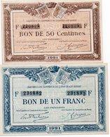 FRANCIA-CHAMBRES DE COMMERCE DE QUIMPER&DE BREST-BON DE 50 CENTIMES,1 FRANC-1921-UNC - 1871-1952 Antichi Franchi Circolanti Nel XX Secolo