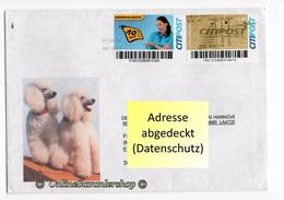 BRD - Privatpost - Umschlag - Citipost - Marken: Leipnitz, Ergänzung / Abb: Hunde Pudel - Privatpost