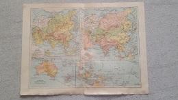 CARTE  PHYSIQUE ET POLITIQUE OCEANIE IMP. LEMERCIER RECTO VERSO  42 X 31 CM - Cartes Géographiques