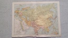 CARTE ASIE  IMP. LEMERCIER  RECTO VERSO  COMMERCE ET PRODUCTIONS  42 X 31 CM - Cartes Géographiques