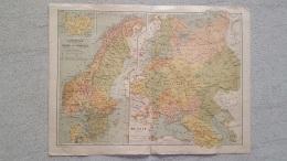 CARTE  DANEMARK SUEDE NORVEGE  ET RUSSIE PLUS  VERSO IMP. LEMERCIER  41 X 31 CM - Cartes Géographiques