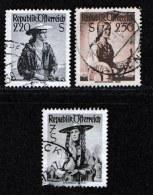 AUSTRIA, 1952, Cancelled Stamp(s) , Provincial Costumes, Mi 978-980,  Scan U15042, - 1945-.... 2nd Republic