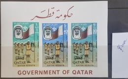 HX35 - Qatar 1965 Mi. Block 1B Souvenir Steet MNH - ERROR - Scarce : White Shadow Over Scouts - Qatar
