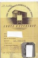 CARTE D'ETUDIANT-L'ECOLE INTERNATIONALE DE DESSINS ET DE PEINTURE :MONACO  21/7/54 N°8.004 - Maps