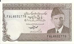 PAKISTAN 5 RUPEES ND1983-84 UNC(leger Trou Agraffe) P 38 - Pakistán
