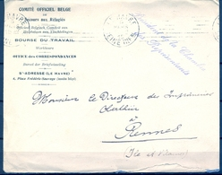 1915 , FRANCIA , FRANQUICIA , COMITÉ OFFICIEL BELGE DE SECOURS AUX RÉFUGIÉS, LE HAVRE - RENNES , LLEGADA - France