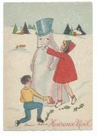 CPSM Barré Dayez - Heureux Noel Enfants Bonhomme De Neige - Illustrateur Marie Astoin - 1392 A - Altri