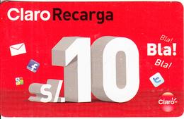 PERU - Claro Recharge Card S/.10, Exp.date 31/12/20, Used - Peru