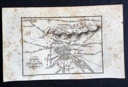 Carte Ancienne BATAILLE DE TOULOUSE Par A.M. PERROT, Gravée Par P.Tardieu. - Maps