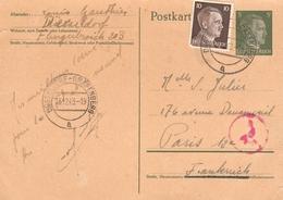 1942 - Entier Postal Et Timbre Hitler - Cachet Dusseldorf Grafenberg - Germany