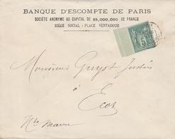 """LSC - Entête """" Entete Banque D'escompte De Paris - Timbre Type Sage 5ct Vert - 1877-1920: Période Semi Moderne"""