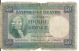 ISLANDE 50 KRONUR 1928 VG P 34 - Iceland