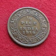 British India 1/2 Half Pice 1919 KM# 510  Inde Indie Indien - India