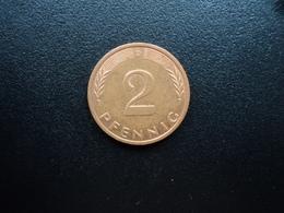 RÉPUBLIQUE FÉDÉRALE ALLEMANDE : 2 PFENNIG   1996 D     KM 106a      SUP - [ 7] 1949-… : FRG - Fed. Rep. Germany