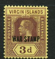 British Virgin Islands 1916 3p War Tax Issue #MR2 - British Virgin Islands