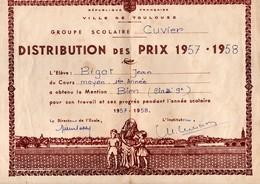 DISTRIBUTION DES PRIX . ÉLÈVE BIGOT JEAN-MICHEL . ÉCOLE CUVIER TOULOUSE (Garçons) . ANNÉE 1958/1959 - Réf. N°434F - - Diplomi E Pagelle