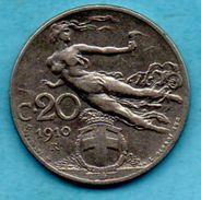 T1/ ITALIE ITALY  20 CENTS 1910 - 1861-1946 : Royaume