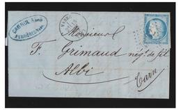 """FRANCE -- TARN -- LOSANGE GROS CHIFFRES """"4062"""" DE VABRE SUR N°60--1873 -- LETTRE POUR ALBI-- - Marcophilie (Lettres)"""