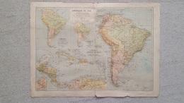 CARTE AMERIQUE DU SUD ET CENTRALE ANTILLES AUSTRALASIE ILE JAVA  BRESIL IMP LEMERCIER RECTO  ET VERSO 42 X 31 CM - Geographical Maps