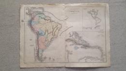 CARTE AMERIQUE DU SUD ET ANTILLES IMP BREHIER 47 X 33 CM - Cartes Géographiques