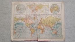 CARTE  PLANISPHERE BOTANIQUE ZOOLOGIQUE CLIMATOLOGIQUE IMP LEMERCIER RECTO VERSO  42 X 31 CM - Cartes Géographiques